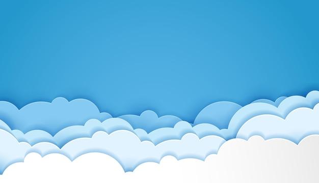Piękne puszyste niebieskie chmury wycinane z papieru w stylu sztuki. miejsce na tekst. projekt wektor.