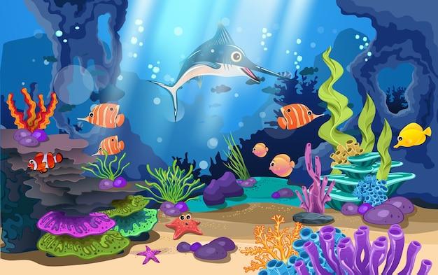 Piękne rafy koralowe i ryby w morzu