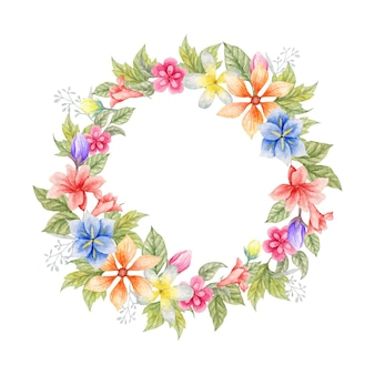 Piękne Ręcznie Malowane Akwarelą Zielonych Liści I Kwiatowej Wiosennej Ramie Premium Wektorów