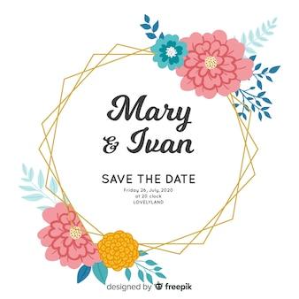 Piękne ręcznie malowane zaproszenie na ślub kwiatowy