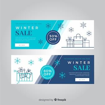 Piękne ręcznie rysowane banery sprzedaż zimowy