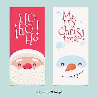 Piękne ręcznie rysowane banery świąteczne