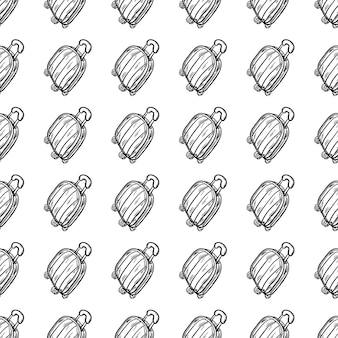Piękne ręcznie rysowane bezszwowe wzór moda torba ikona. ręcznie rysowane czarny szkic. znak / symbol / doodle. na białym tle. płaska konstrukcja. ilustracja wektorowa.
