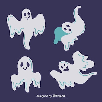 Piękne ręcznie rysowane duchy halloween