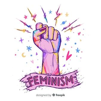 Piękne ręcznie rysowane feminizm compositionq