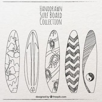 Piękne ręcznie rysowane kolekcji surfowania pokładzie