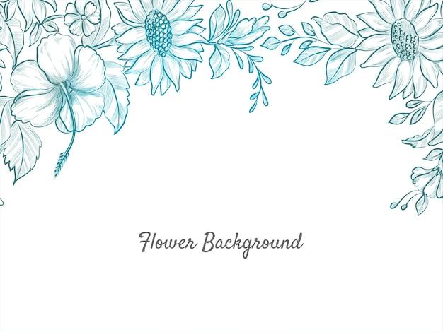 Piękne ręcznie rysowane kwiat szkic tło projektu