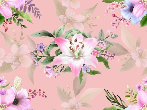 Piękne ręcznie rysowane kwiatowy wzór