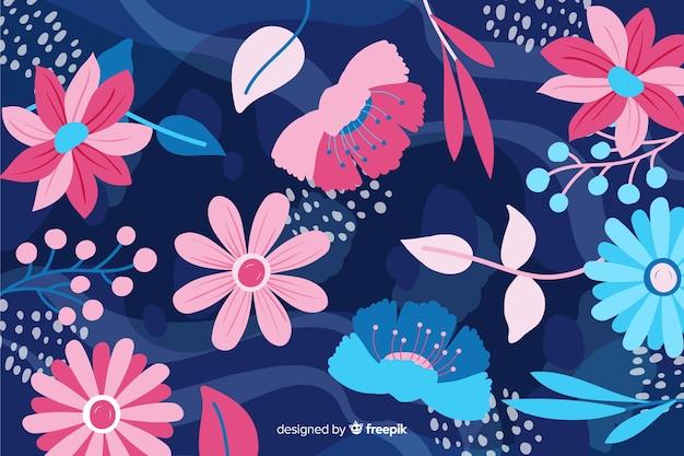 Piękne ręcznie rysowane kwiaty streszczenie tło