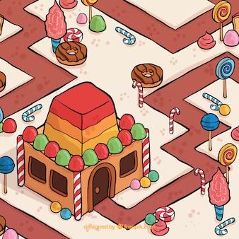 Piękne ręcznie rysowane land candy