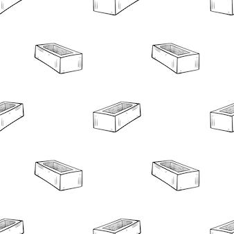 Piękne ręcznie rysowane moda wzór cegły ikona. ręcznie rysowane czarny szkic. na białym tle. płaska konstrukcja. ilustracja wektorowa.