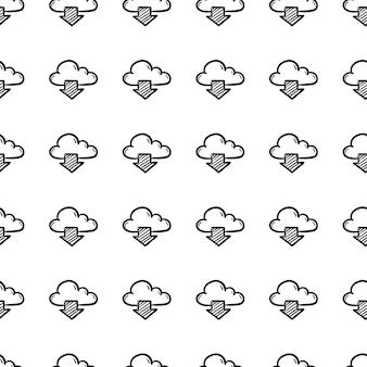 Piękne ręcznie rysowane moda wzór chmura i ikona strzałki. ręcznie rysowane czarny szkic. znak / symbol / doodle. na białym tle. płaska konstrukcja. ilustracja wektorowa.