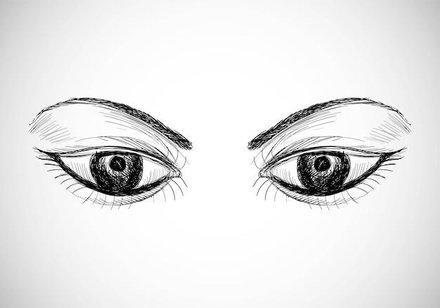Piękne, ręcznie rysowane oczy szkic projektu