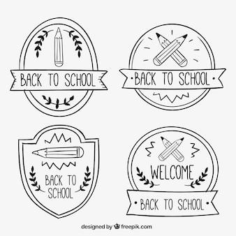 Piękne ręcznie rysowane plakietki na powrót do szkoły