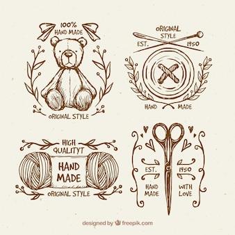 Piękne ręcznie rysowane plakietki rocznika szycia