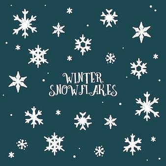 Piękne ręcznie rysowane płatki śniegu