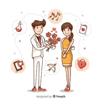 Piękne ręcznie rysowane propozycję małżeństwa