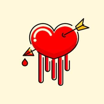 Piękne, ręcznie rysowane serce ze strzałką i ilustracją wektora krwi