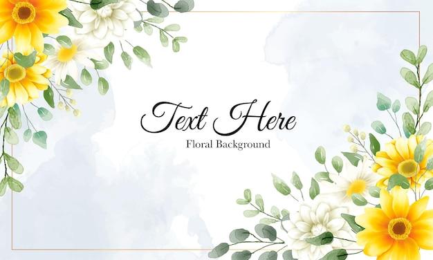 Piękne, Ręcznie Rysowane Tła Akwarela Kwiaty Z Przykładowy Tekst Szablonu Darmowych Wektorów
