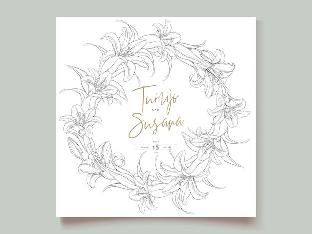 Piękne ręcznie rysowane wieniec kwiaty lilii