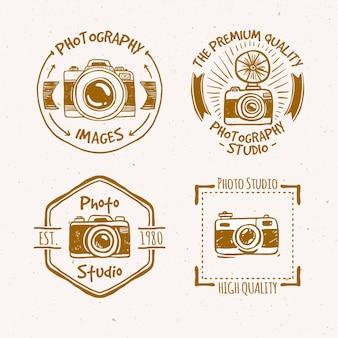 Piękne ręcznie rysowane zabytkowe etykiety fotografii