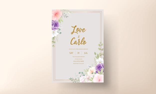 Piękne, ręcznie rysowane zaproszenia ślubne zestaw kart projektowych