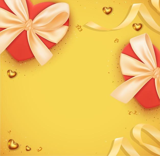 Piękne romantyczne tło walentynki z realistycznym czerwonym pudełkiem na prezenty