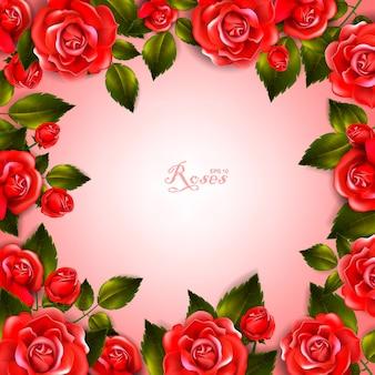 Piękne romantyczne tło z czerwonych róż i liści. kompozycja kwiatowa.