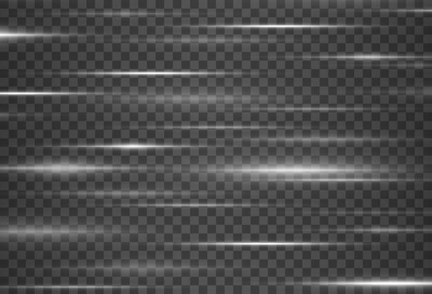 Piękne rozbłyski światła wiązki laserowe poziome promienie światła piękne rozbłyski światła