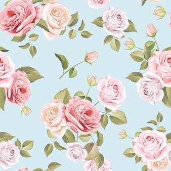 Piękne róże i liście wzór