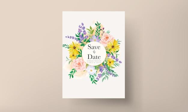 Piękne róże i polne kwiaty karta zaproszenie na ślub