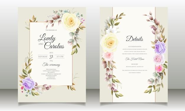 Piękne róże kwiat zaproszenia karty wzorów szablonów