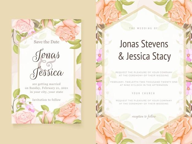Piękne róże zaproszenia ślubne kwiatowy szablon
