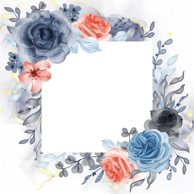 Piękne różowe niebieskie pomarańczowe tło ramki z białym kwadratem