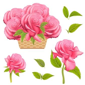 Piękne różowe róże w koszu wektor letni bukiet kwiatów na urodziny ślub dzień matki