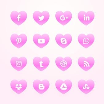 Piękne różowe serca social media sieci ikony pack