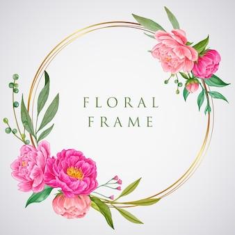 Piękne różowe złoto koło rama akwarela kwiaty
