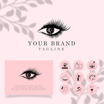 Piękne rzęsy elegant line art logo edytowalny szablon
