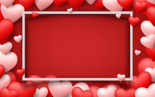 Piękne serca unoszące się wokół białej ramki walentynek na ciemnoczerwonym tle. motyw miłości