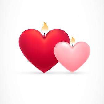 Piękne serca z płomieniami