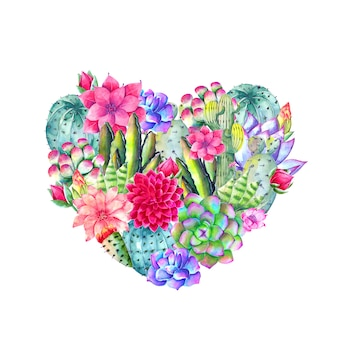 Piękne serce wypełnione akwarelowymi kwiatami i liśćmi