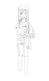 Piękne słodkie dziewczyny ręcznie rysowane szczęśliwa młoda dziewczyna nastolatek kreskówka doodle kobiety izolowane wektor