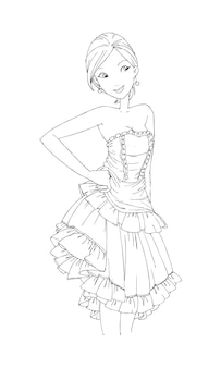 Piękne słodkie dziewczyny ręcznie rysowane szczęśliwa młoda dziewczyna nastolatka kreskówka doodle kobiety izolowane