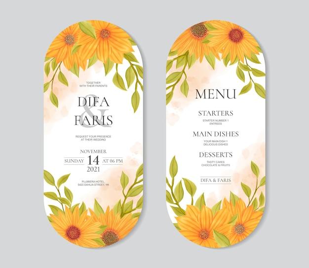 Piękne słonecznikowe zaproszenie na ślub i szablon menu