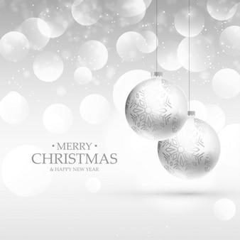 Piękne srebro backgorund realistyczne christmas kulki