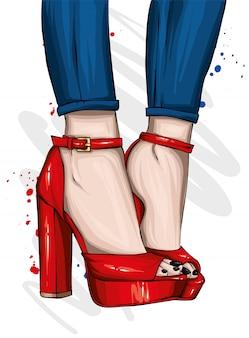 Piękne stylowe buty damskie. modne sandały na wysokich obcasach. moda i styl, odzież i dodatki. ilustracji wektorowych.