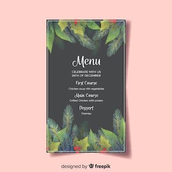 Piękne świąteczne menu szablon