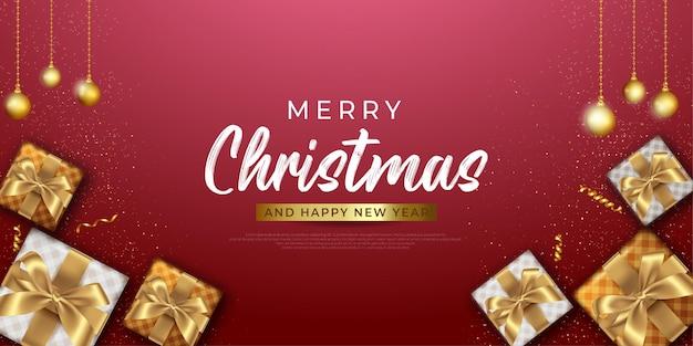 Piękne świąteczne tło z realistyczną dekoracją elementu