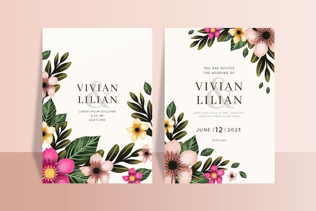 Piękne szablony kart kwiatowy pielenie