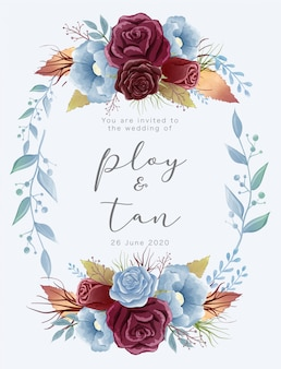 Piękne szablony kart ślubnych akwarela w motywie koloru burgundowego i niebieskiego pyłu. ozdobiony różami i dzikimi liśćmi.